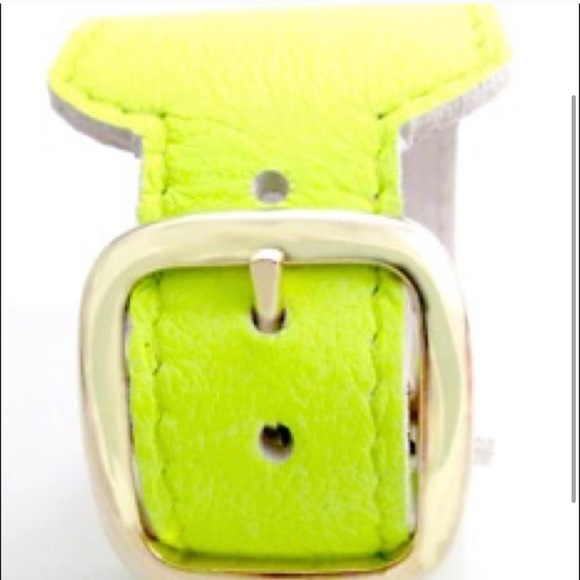 Neon Yellow Leather Buckle Cuff